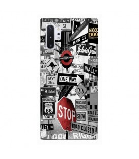 Coque Galaxy NOTE 10 underground route 66 street urban noir blanc rouge