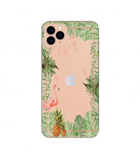 Coque Iphone 11 PRO Tropical day Flamant Ananas summer Exotique fleur