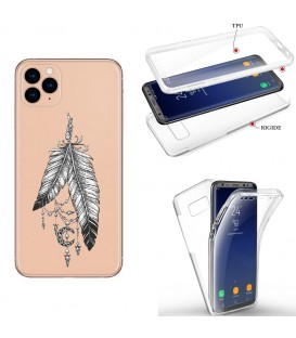 Coque Iphone 11 integrale plumes dreamcatcher reves indien transparent