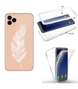 Coque Iphone 11 integrale plumes blanc