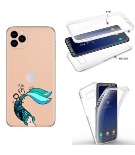 Coque Iphone 11 integrale sirene mermaid bleu transparente