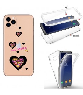 Coque Iphone 11 integrale smiley coeur emojii transparente