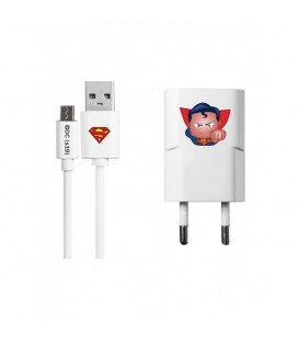 Chargeur cable micro USB Superman blanc