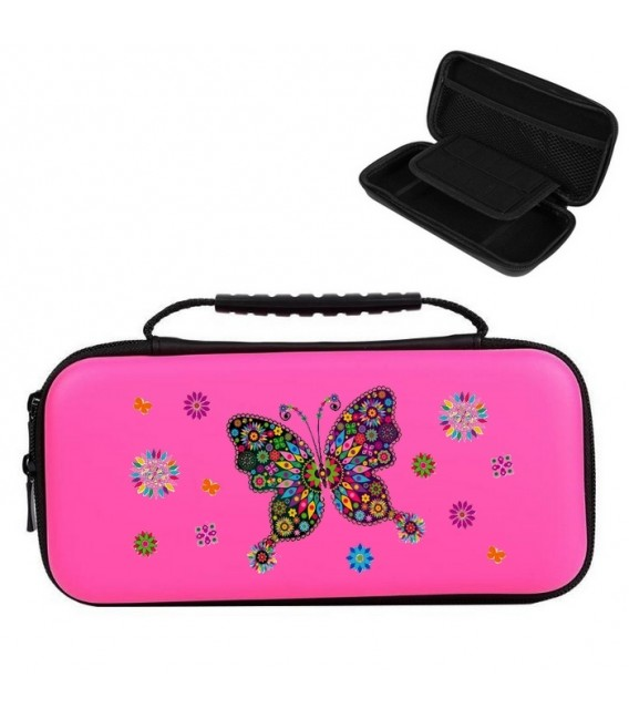 Etui pochette rose Nintendo Switch LITE papillon