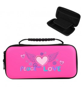 Etui pochette rose Nintendo Switch LITE peace love rose