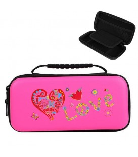 Etui pochette rose Nintendo Switch LITE peace love rouge