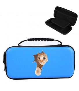 Etui pochette Nintendo Switch LITE bleu chat pelotte cat