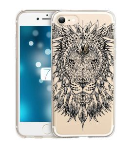Coque iphone 6 6S lion jungle wild tatoo doodling noir transparente