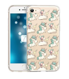 Coque iphone 6 6S licorne nuages unicorn cute kawaii transparente