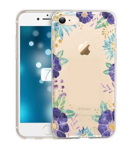 Coque iphone 6 6S Fleur 15 Violet Pastel Tropical Or Transparente