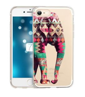 Coque iphone 6 6S Elephant rose vert blanc Aztec indien transparent