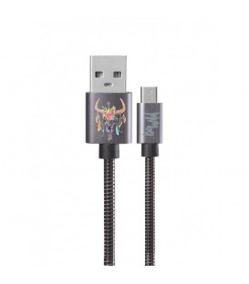 Cable micro USB gris skull bull wild