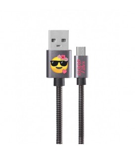 Cable micro USB gris smiley good vibes