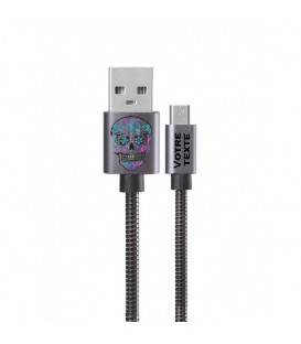 Cable Micro USB personnalisee gris calaverra mexicaine fluo