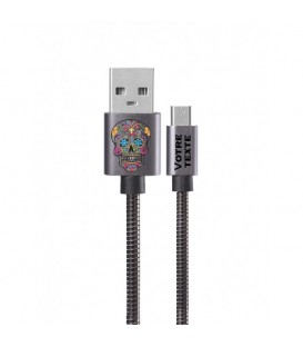 Cable Micro USB personnalisee gris calaverra mexicaine