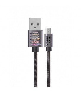 Cable Micro USB personnalisee gris plume boho