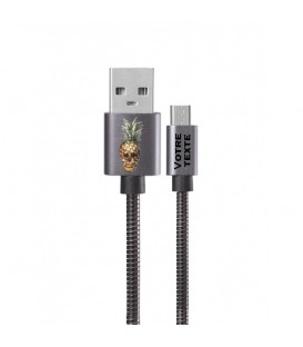 Cable Micro USB personnalisee gris tete de mort ananas