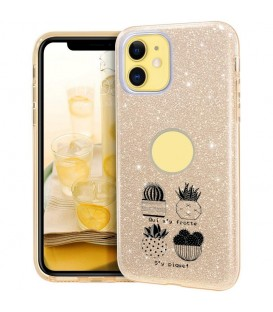 Coque Iphone 11 PRO glitter paillettes dore cactus noir tropical exotique