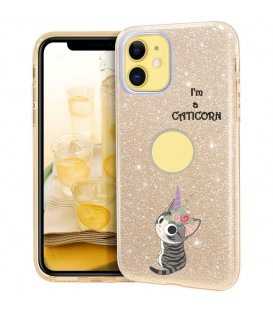 Coque Iphone 11 PRO glitter paillettes dore Chat licorne cat cute kawaii fleur
