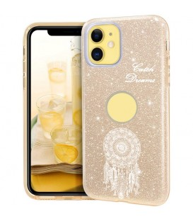 Coque Iphone 11 PRO MAX glitter paillettes dore dreamcatcher blanc
