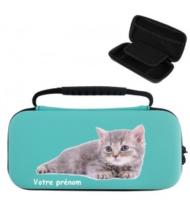 Etui pochette Switch lite BC personnalisee prenom chat cat