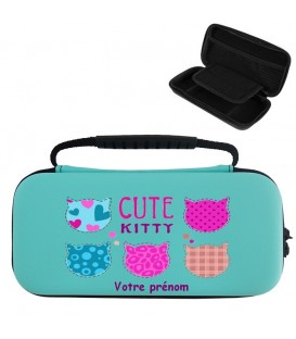 Etui pochette Switch lite BC personnalisee prenom kitty chat cat