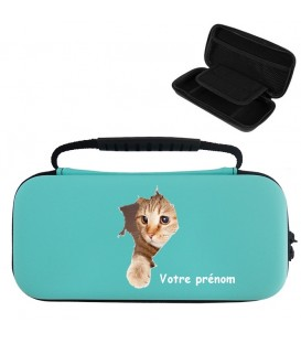 Etui pochette Switch lite BC personnalisee prenom chat pelotte cat