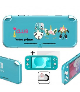 Coque gel Switch LITE personnalisee prenom + verre trempe club licorne panda lama