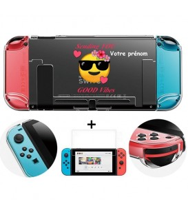 Coque rigide Switch personnalisee prenom texte + verre smiley good vibes