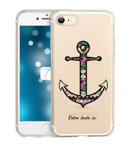 Coque Iphone 6 6S personnalisee ancre fleur rose
