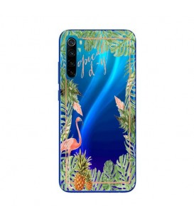 Coque Redmi NOTE 8T Tropical day Flamant Ananas summer Exotique fleur