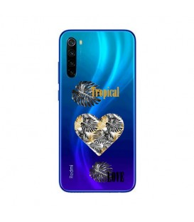 Coque Redmi NOTE 8T tropical love coeur transparente