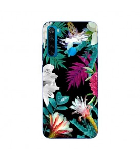 Coque Redmi NOTE 8T tropical Noir Fleur violet rose