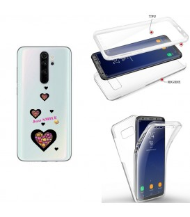 Coque Redmi NOTE 8 integrale smiley coeur emojii transparente
