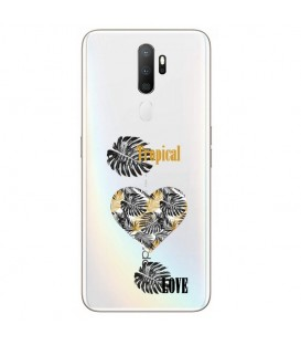 Coque OPPO A5 2020 A9 2020 tropical love coeur transparente