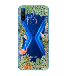 Coque Honor 9X Tropical day Flamant Ananas summer Exotique fleur
