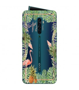 Coque OPPO RENO 2 Tropical day Flamant Ananas summer Exotique fleur
