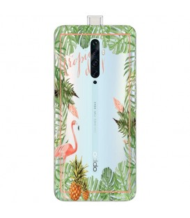 Coque OPPO RENO 2Z Tropical day Flamant Ananas summer Exotique fleur