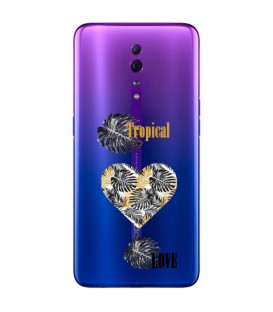 Coque RENO Z tropical love coeur transparente