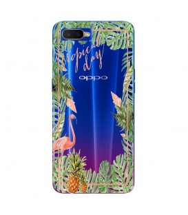 Coque OPPO RX17 NEO Tropical day Flamant Ananas summer Exotique fleur