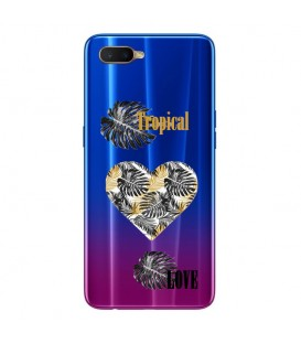 Coque OPPO RX17 NEO tropical love coeur transparente
