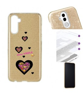 Coque Galaxy NOTE 10 paillettes dore smiley coeur emojii