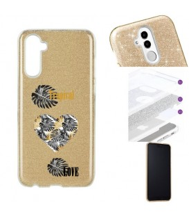 Coque Galaxy NOTE 10 paillettes dore tropical love coeur