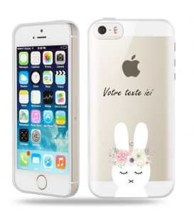 Coque Iphone 5 5S SE lapin personnalisee fleur kawaii transparente
