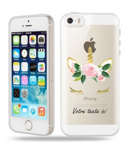Coque Iphone 5 5S SE Licorne personnalisee eyes rose unicorn