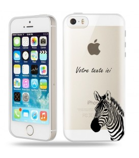 Coque Iphone 5 5S SE zebre personnalisee transparente