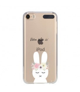 Coque Ipod touch 5 touch 6 lapin personnalisee fleur kawaii transparente
