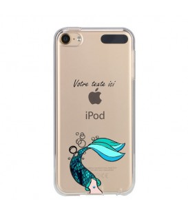 Coque Ipod touch 5 touch 6 sirene personnalisee bleu transparente