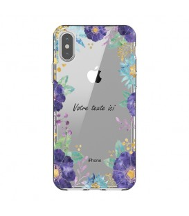 Coque Iphone XR Fleur 15 Violet personnalisee Transparente