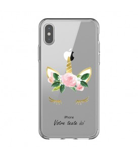 Coque Iphone XR Licorne personnalisee eyes rose unicorn